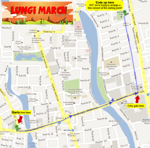 Route of Lungi March towards baridhara