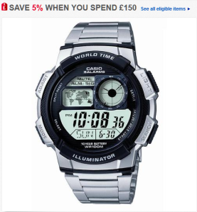 BRAND NEW CASIO GENTS DIGITAL WATCH AE-1000WD-1AVEF RRP £50 NOW £17.99 64% OFF