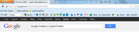 Google Toolbar for Latest of Firefox with Speed dial
