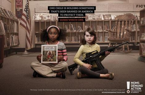 Moms Demand Action: One Child Is Holding Something That's Banned in America to Protect Them